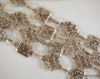38in Handmade Flower Chain Designer Chain Antique Silver Flowers and Squares Textured Chain Not Soldered - 3 ft 2 in - STR9041CH-AS38