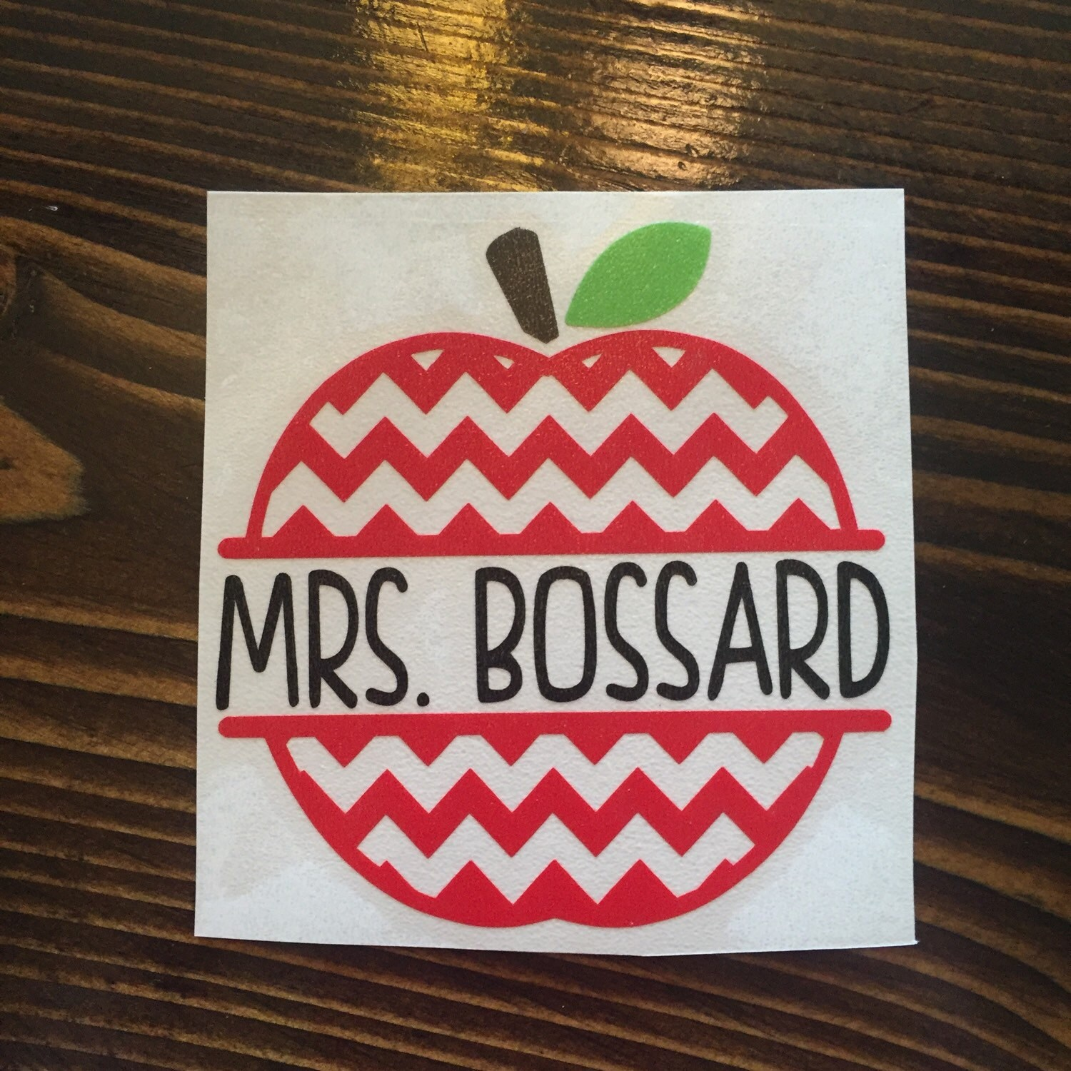 Chevron Apple Vinyl Monogram Decal Custom Teacher Decal - Monogrammed custom vinyl decals for car