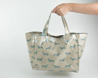 Shopping Tote - Market  Bag - Dachshund Bag - Wiener Dog  Bag - Reusable Shopping Bag - Oilcloth bag - Shopping Bag - Sausage Dog Bag