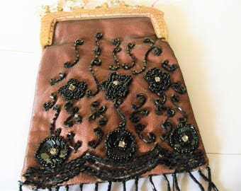 evening bag GATSBY Art Deco beaded flowers, mother's day