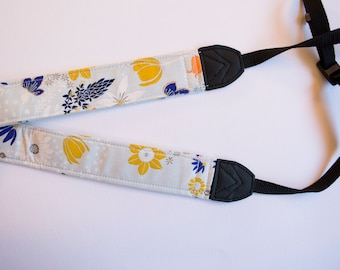 Light Blue Floral DSLR Camera Strap - Leah Duncan Fabric
