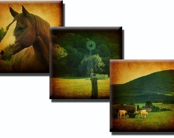 Scenic Country Living collage sheet - 1 inch squares