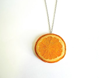 Glitter Orange Necklace, fruit necklace, vegan jewelry