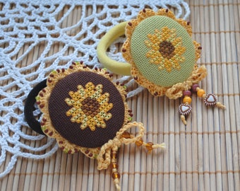 hair accessories hand embroidery art sunflower hair bow flower hair jewelry birthday gift crochet hand knit yellow flower hair bow for girl