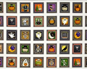 "Quilting Treasures Creepy Hollow Halloween Blocks cream   100% cotton fabric by the Panel 24""x 43"" (QT408)"