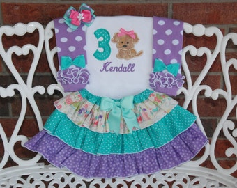 4 pc. Girls Puppy Birthday Outfit! Baby Girl Dog Birthday Outfit! Dog Birthday outfit/First birthday outfit/Dog Birthday/1st birthday outfit