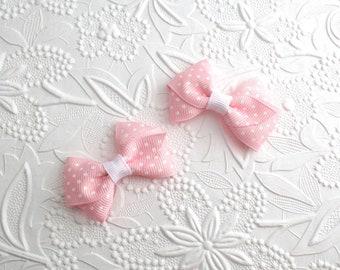"Pigtail Hair Bow Clips, Tiny Hair Bows, 2"" Hair Bows, Baby Hair Bows, Toddler Hair Clips, Pink Hair Bow Clips, Small Hair Bows, Baby Bow Set"