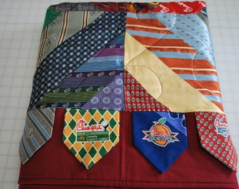 Custom Necktie Quilt, Men's Necktie Quilt, Silk Neckties