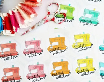 Stitched with love sewing stickers sewing machine singer handmade small business packaging
