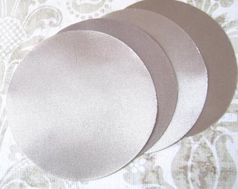 30 pcs 3 inches Gray Bridal Satin Fabric Circles