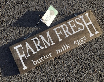 Farmfresh sign | rustic wooden sign | kitchen or diningroom sign | farmhouse sign