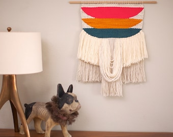 MADE TO ORDER Weaving | Wall Hanging in Coral, Mustard and Teal Colorblock |Handwoven Tapestry
