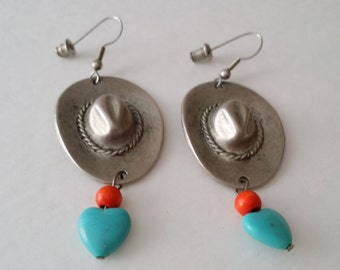 Beautiful Vintage Silver Tone Faux Turquoise Coral Bead Southwestern Sombrero Hat Hook Dangle Earrings