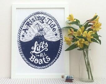 Rising Tide Boat Linocut Print  - Nautical Lino Print, Sailor Tattoo, Bathroom Print, Motivational Poster, Poetry Print, Typographical Art