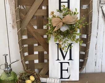 mini home sign with wreath home sign with wreath baby grass wreath sign wood sign distressed