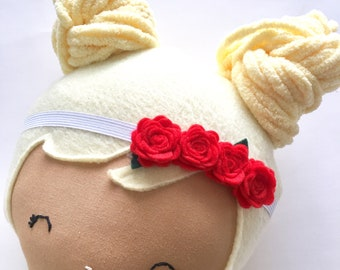 White elastic with red felt flowers for your Ellie and Fern doll
