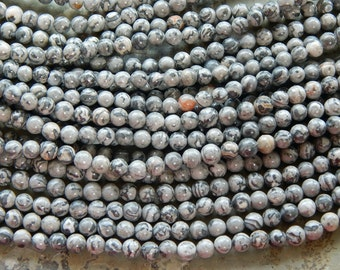6mm Natural Scenery Jasper Polished Round Gemstone Beads, 15.5 Inch Strand (IND1C08)