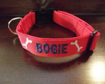 Custom Made Personalized Embroidered Dog Collar, Personalized Dog Collar with name and phone number, Custom Dog Collar,