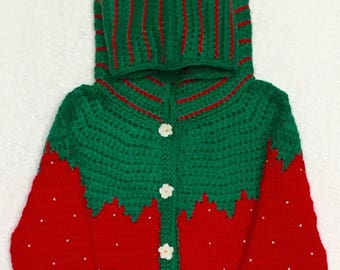 Red Crocheted Hoodie Strawberry Sweaters.
