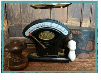 charming antique black & brass rictus german scales rare / farmhouse / vintage kitchen scales / rustic / vintage kitchen / primitive