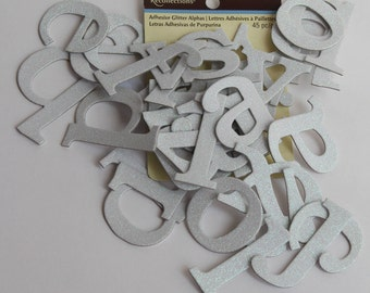 Recollections adhesive glitter alphas letters . lower case white 45 pieces - DESTASH