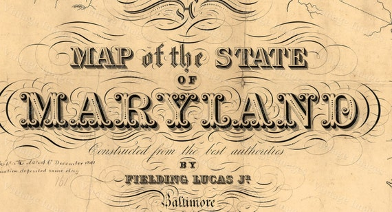 Map of Maryland Old Maryland Map, Maryland Vintage Map, 1841 Restoration decorator Style Maryland Wall art Maryland Map Chesapeake Bay map