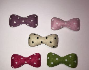 Large Bow Fabric Covered Flatback Mix color