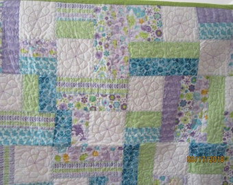 Handmade  quilt for Child pale shades of turquoise,lavender and lime