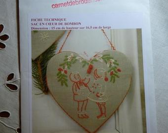 "Embroidery book ""Bombon heart bag"" listing"