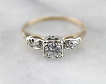 Vintage Engagement Ring 1960s Diamond Ring Retro 14K Gold