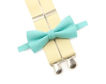 ring bearer suspenders bow tie mint bowtie & beige suspenders adult suspenders and bow ties
