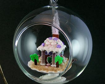 Gingerbread Beach House Ornament with Gift Box