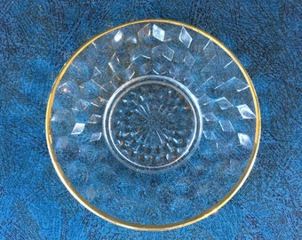 Vintage Jeannette Cubist Glass Gold Trim Mayonnaise Underplate