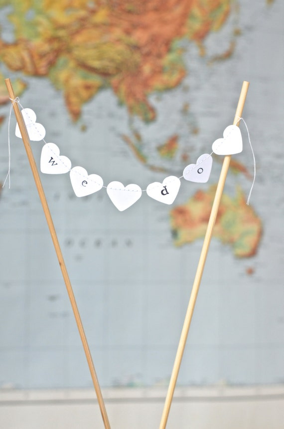We Do Hand Stamped Heart Wedding Cake Topper Garland, mini heart bunting - custom colors available