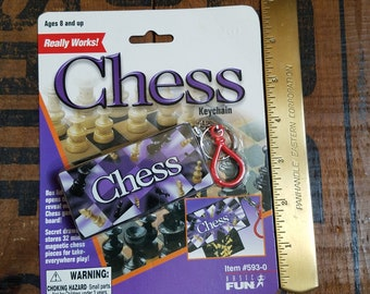 Vintage Miniature Chess Game on Keychain