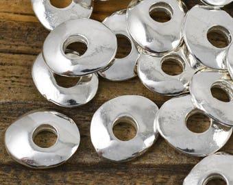 10mm Cornflake - Fine Silver - Wavy Rustic Round Disk - Mykonos Beads