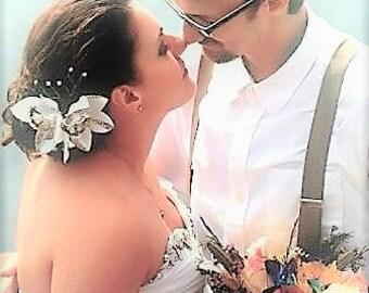 Silk Hair flowers, Hair accessories, Ivory Orchids, Wedding Headpiece, Tropical flower, Custom hair clip, Beach Wedding, Hawaiian hair clip