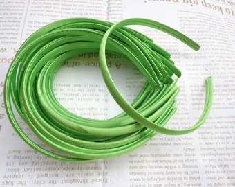 SALE--30 pcs Plastic Headband With Green Cloth Covered 10mm Wide