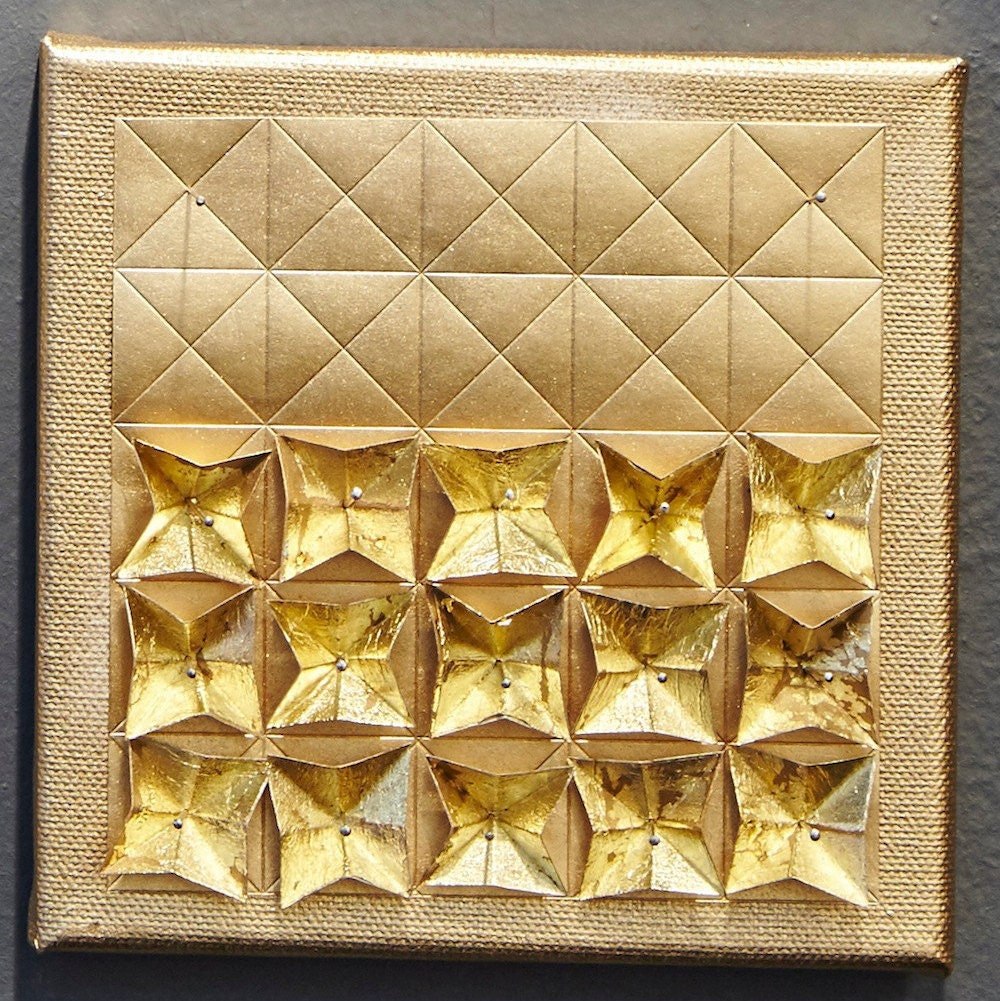 Origami Paper Art Gold Metallic Wall Hanging Limited