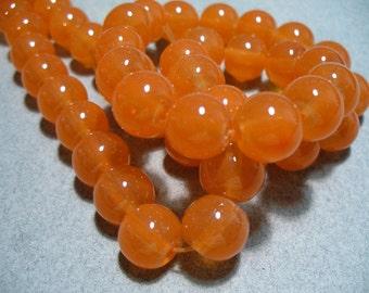 Jade Glass  Beads Orange Round 10MM