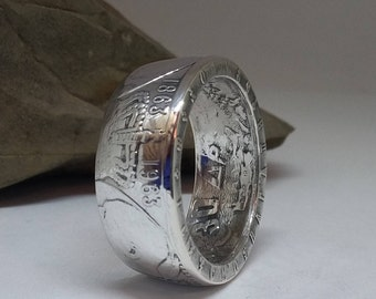 1963 30 Drachmai 100th Anniversary of the Five Greek Kings .835 Silver Coin Ring