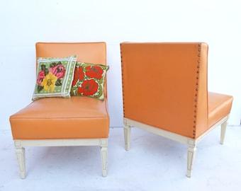 Attractive Mid Century Modern Vinyl Atomic Tangerine  Light Orange Pair Of Slipper  Chairs  Livingroom