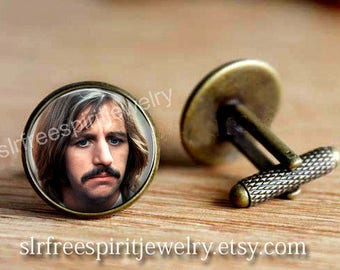 Ringo Star Cuff Links, Beatles Cuff Links,Retro, Musicians, Gift for Drummer,  Music Icons, Gift for Men