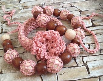 Crochet jewelry Set necklace & bracelet Rose bib necklace wood bracelet Bohemian beaded necklace Flowers lace bracelet Ukraine gift women