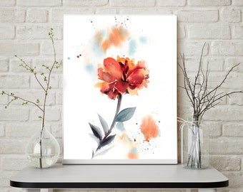 Red Flower botanical modern art print, flower watercolor painting print, floral wall art for home decor