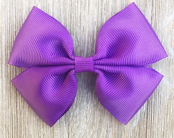 Purple stacked bow, back to school hair bow, everyday hair bow, french barrette, alligator clip, baby headband