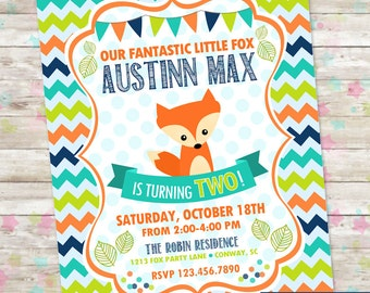 Little Fox Invite, Fox Birthday Invite, Boy Birthday Fox Invite, Fox Invitation, Digital Printable Invite, Fox Birthday Bash