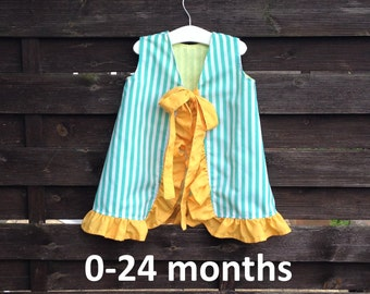 "Reversible, open back, a-line baby girl's dress with ruffle - PDF sewing pattern sizes 0-24 months, beginner sewing, easy to sew, ""The Lucy"""