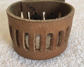Tan colored Boho Leather Cuff Bracelet