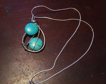 Turquoise Wire-wrapped Pendant Necklace